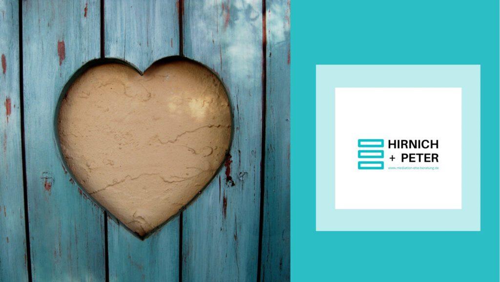 Barrierefrei: Ein Bild von einem Herz sowie das Logo von Hirnich + Peter.